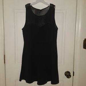 Black mesh top skater dress formal